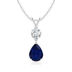 Prong Set V Bale Diamond and Sapphire Drop Pendant