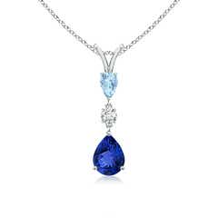 3 Stone Tanzanite, Diamond and Aquamarine Drop Pendant