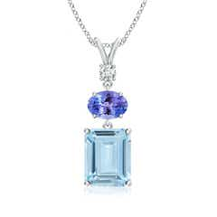 Tanzanite, Diamond and Aquamarine Three Stone Pendant