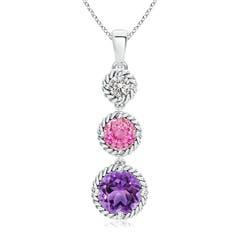 Pink Sapphire, Diamond & Amethyst 3 Stone Pendant