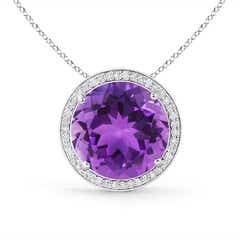 Round Amethyst Pendant with Diamond Halo