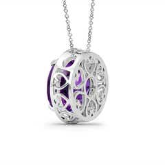 Toggle Round Amethyst Pendant with Diamond Halo