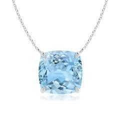 Classic Cushion Aquamarine Solitaire Pendant