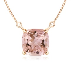Classic Cushion Morganite Solitaire Pendant