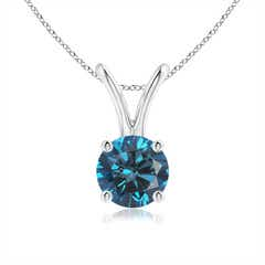 Blue diamond pendant necklaces angara round enhanced blue diamond solitaire v bale pendant audiocablefo