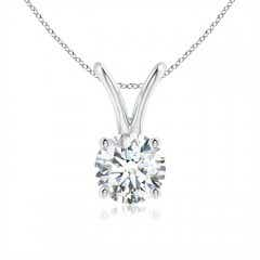 Split Bail Prong Set Round Diamond Solitaire Pendant