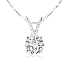 Split Bail Prong Set Round Diamond Solitaire Pendant