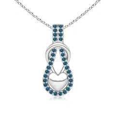 Enhanced Blue Diamond Studded Infinity Knot Pendant with Puffed Heart
