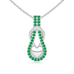 Emerald Infinity Knot Pendant with Puffed Heart