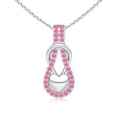 Pink Sapphire Infinity Knot Pendant with Puffed Heart