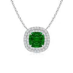Claw-Set GIA Certified Cushion Emerald Double Halo Pendant