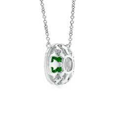 Toggle Claw-Set GIA Certified Cushion Emerald Double Halo Pendant