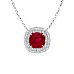 Claw-Set GIA Certified Cushion Ruby Double Halo Pendant