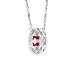 Toggle Claw-Set GIA Certified Cushion Ruby Double Halo Pendant