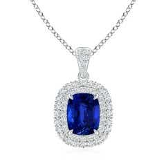 GIA Certified Cushion Sapphire Double Halo Pendant