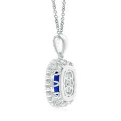 Toggle GIA Certified Cushion Sapphire Double Halo Pendant