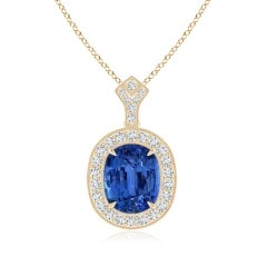 Vintage Style GIA Certified Blue Sapphire Halo Pendant