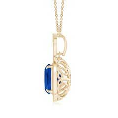 Toggle Vintage Style GIA Certified Blue Sapphire Halo Pendant
