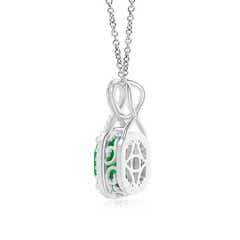 Toggle Rectangular Cushion Emerald Infinity Pendant