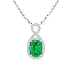 Cushion Emerald Halo Pendant with Diamond Ribbon