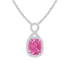 Rectangular Cushion Pink Sapphire Infinity Pendant