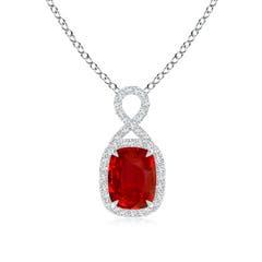 Rectangular Cushion Ruby Infinity Pendant
