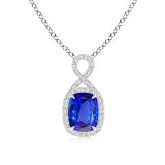 Rectangular Cushion Tanzanite Infinity Pendant