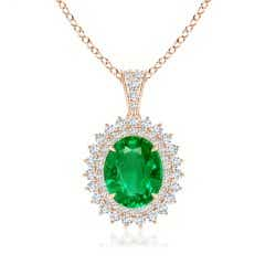 GIA Certified Oval Emerald Floral Halo Pendant