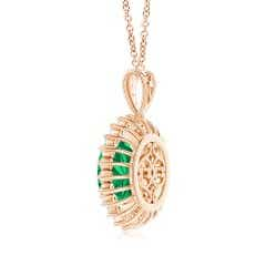 Toggle GIA Certified Oval Emerald Floral Halo Pendant