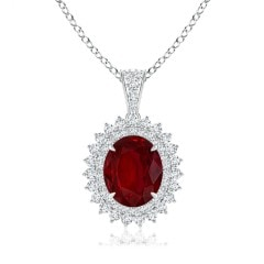 GIA Certified Oval Ruby Floral Halo Pendant