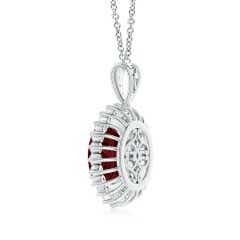 Toggle GIA Certified Oval Ruby Floral Halo Pendant
