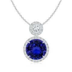 Two-Tier Tanzanite Halo Pendant (GIA Certified Tanzanite)