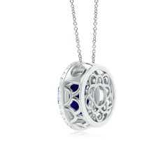 Tanzanite Double Halo Necklace (GIA Certified Tanzanite)