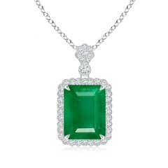 GIA Certified Octagonal Emerald Pendant with Floral Bale