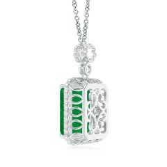 Toggle GIA Certified Octagonal Emerald Pendant with Floral Bale