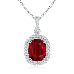 GIA Certified Cushion Ruby Double Halo Pendant