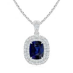 Double Halo Cushion Cut Blue Sapphire and Diamond Pendant