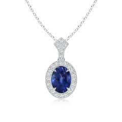 Sapphire and Diamond Halo Pendant (GIA Certified Sapphire)