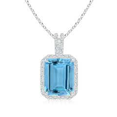 Emerald-Cut Aquamarine Pendant with Diamond Halo