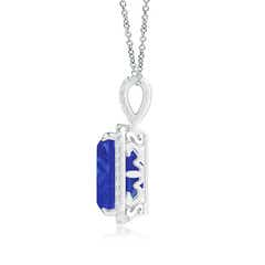 Toggle Emerald-Cut Tanzanite Halo Pendant with Diamond Accents