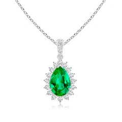 Claw-Set Pear Emerald and Diamond Floral Pendant