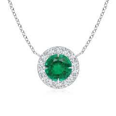Claw-Set GIA Certified Emerald Pendant with Diamond Halo
