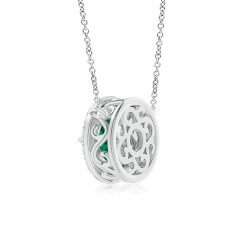 Toggle Claw-Set GIA Certified Emerald Pendant with Diamond Halo