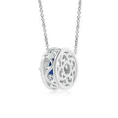 Toggle Claw-Set Blue Sapphire Pendant with Diamond Halo