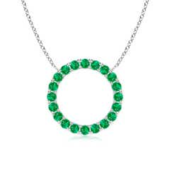 Eternity Round Emerald Open Circle Pendant
