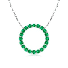 Emerald Open Circle Eternity Pendant