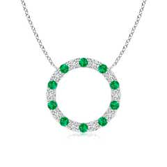 Eternity Round Emerald and Diamond Open Circle Pendant