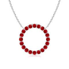 Eternity Round Ruby Open Circle Pendant