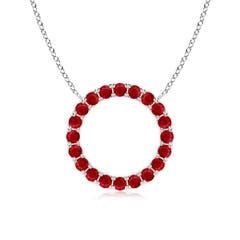 Ruby Open Circle Eternity Pendant
