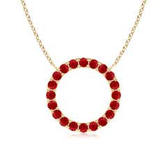 Angara 3.2 mm Ruby and Diamond Circle Journey Pendant in White Gold 3zlQH